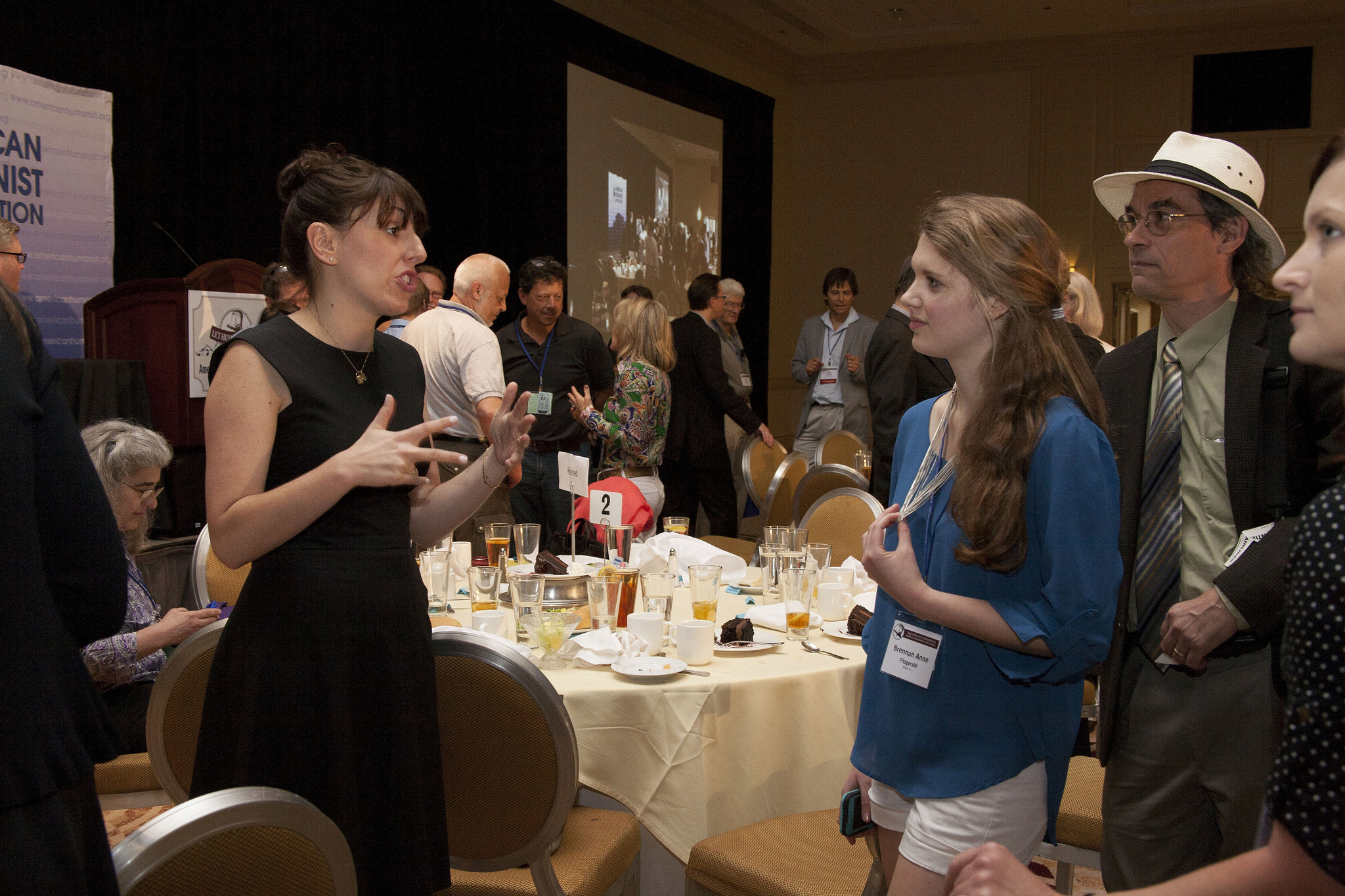 Jessica Valenti talks with conference attendees after her awards speech